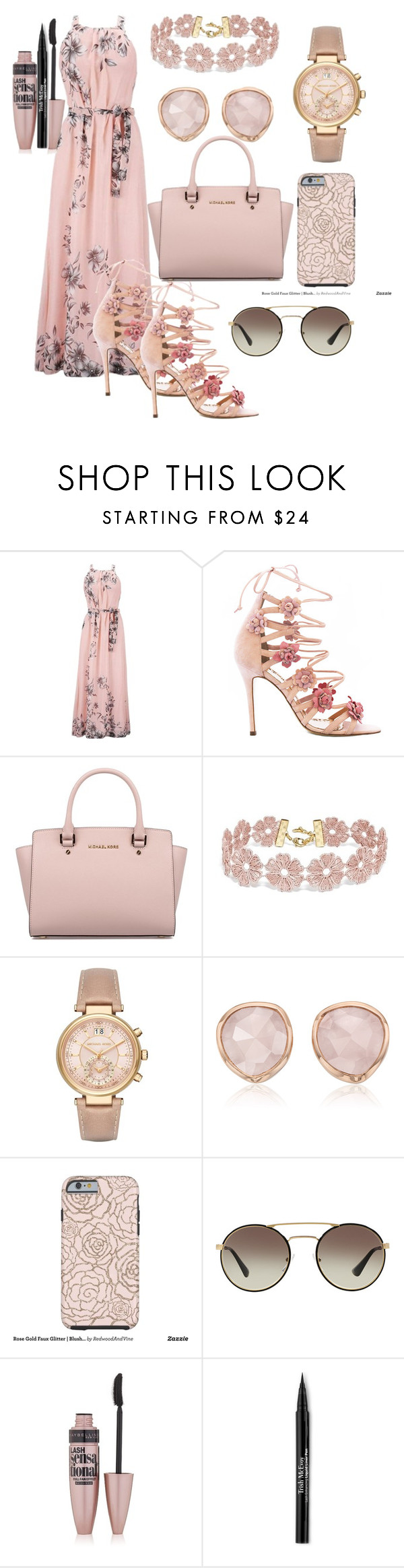 """""""Untitled #1"""" by ee69 ❤ liked on Polyvore featuring Marchesa, Michael Kors, BaubleBar, Monica Vinader, Prada, Maybelline and Trish McEvoy"""