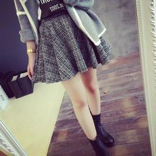 Fierce panda 2014 autumn new European umbrella fitted waist ladies tweed skirts 0099