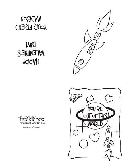 free printable color your own valentines day cards rocket ships - Printable Valentine Cards To Color