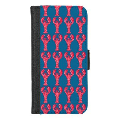 Red Lobster Pattern iPhone 8/7 Wallet Case - patterns pattern special unique design gift idea diy