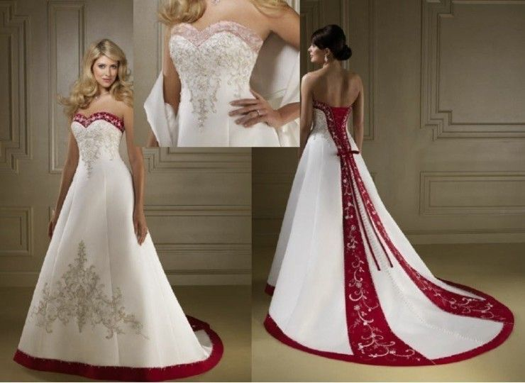 Sale Line Satin Red And White Wedding Dresses | wedding ...