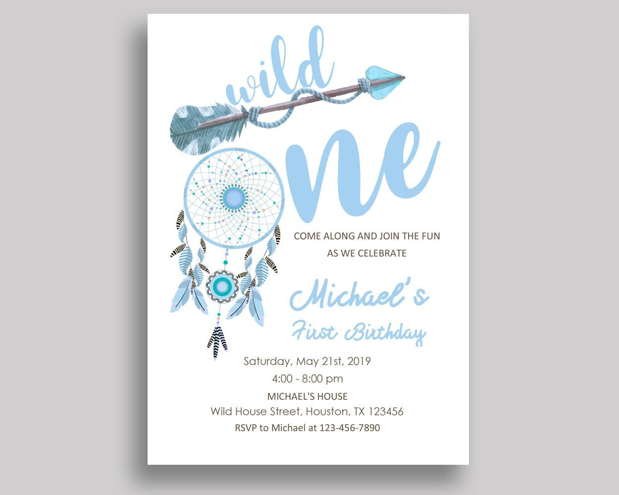 Wild One Bohemian Birthday Invitation Wild One Bohemian Birthday ...