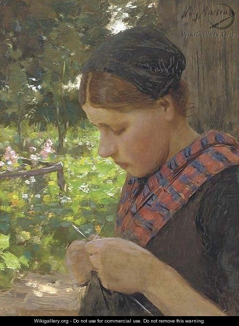 A Girl Knitting, by Willy Martens