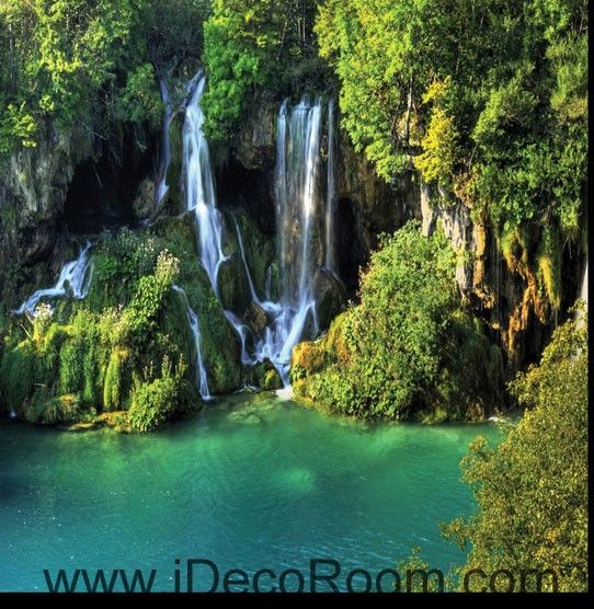 Waterfall Cliff Green Mountain 00096 Floor Decals 3D