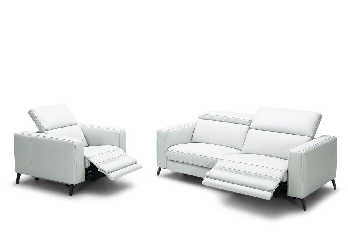 Divani Casa Roslyn Modern White Leather Sofa Set W Recliners