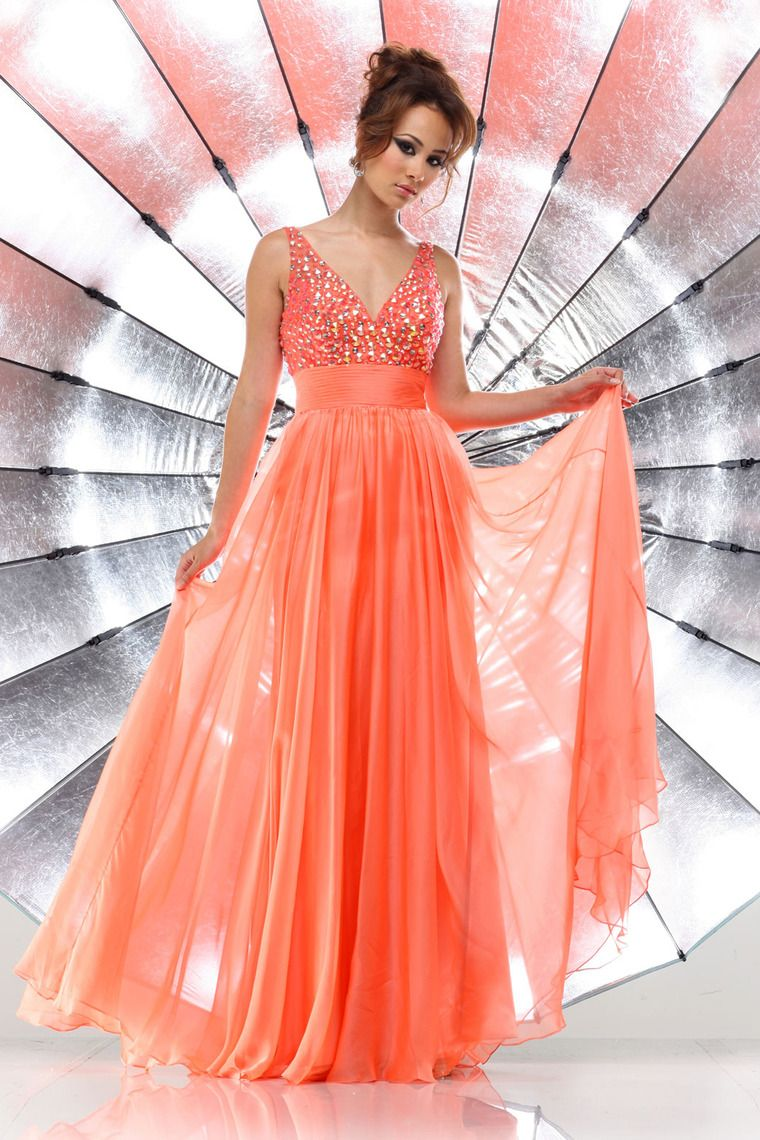 brightly colored prom dress v neck straps floor length with