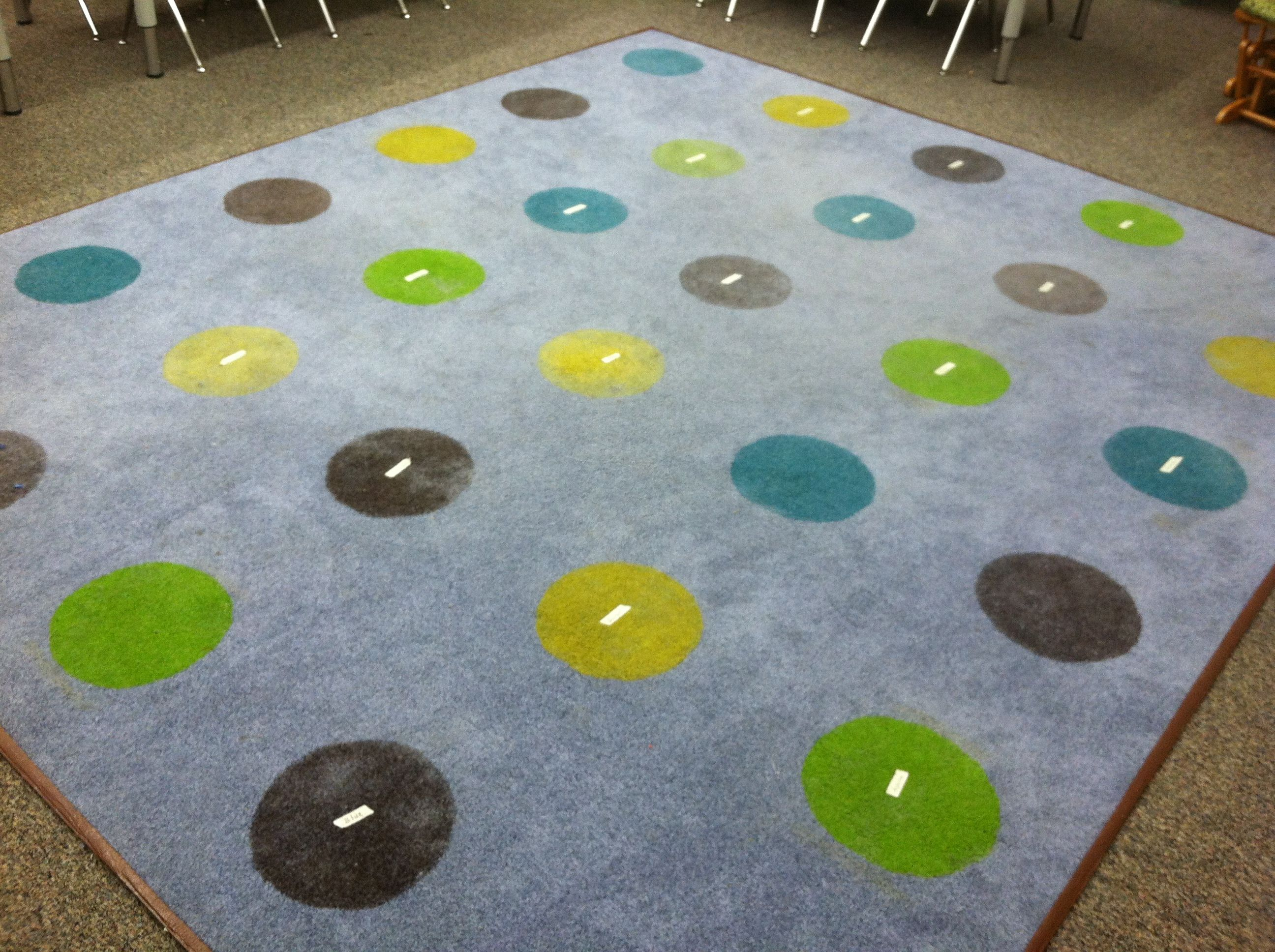 Rug Made Out Of Scrap Carpet Spray Painted Circles Classroom Carpets Carpet Sprays Classroom Decorations