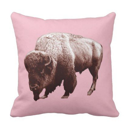 Pink Buffalo Throw Pillow dorm decor college diy cyo personalize