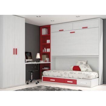 035 Litera Abatible Horizontal Con Dormitorio Juvenil Completo