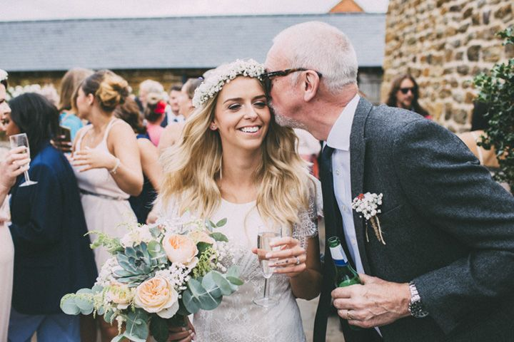 Bride wears Belle and Bunty wedding dress | fabmood.com #weddingdress #weddinggown #shortsleevedweddingdress