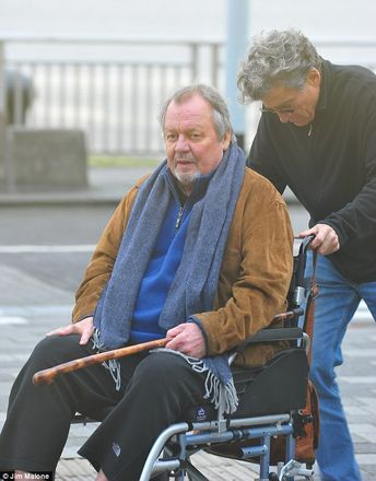 Starsky & Hutch's Paul Michael Glaser pushes David Soul in wheelchair