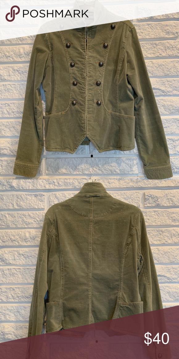 Sage Green Military Button Jacket Velvety sage green jacket