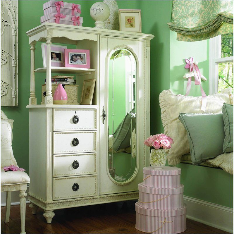 Lea Emmau0027s Treasures Mirrored Door Chest Armoire In White   606 142
