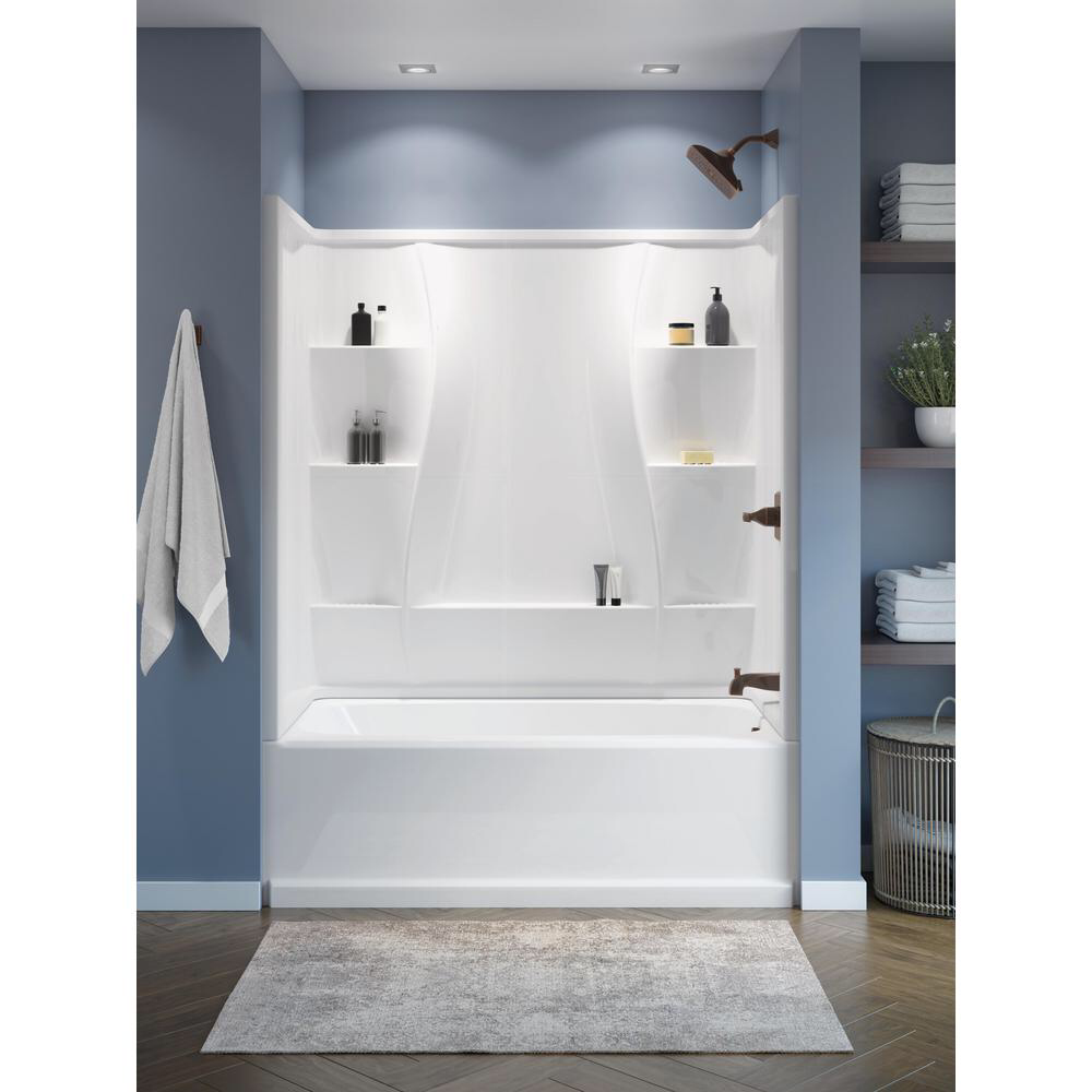 Delta Classic 400 32 In X 60 In X 60 In 3 Piece Direct To Stud Alcove Surround High Gloss In White 40044 Tub Shower Combo Remodel Bathtub Shower Combo Bathrooms Remodel