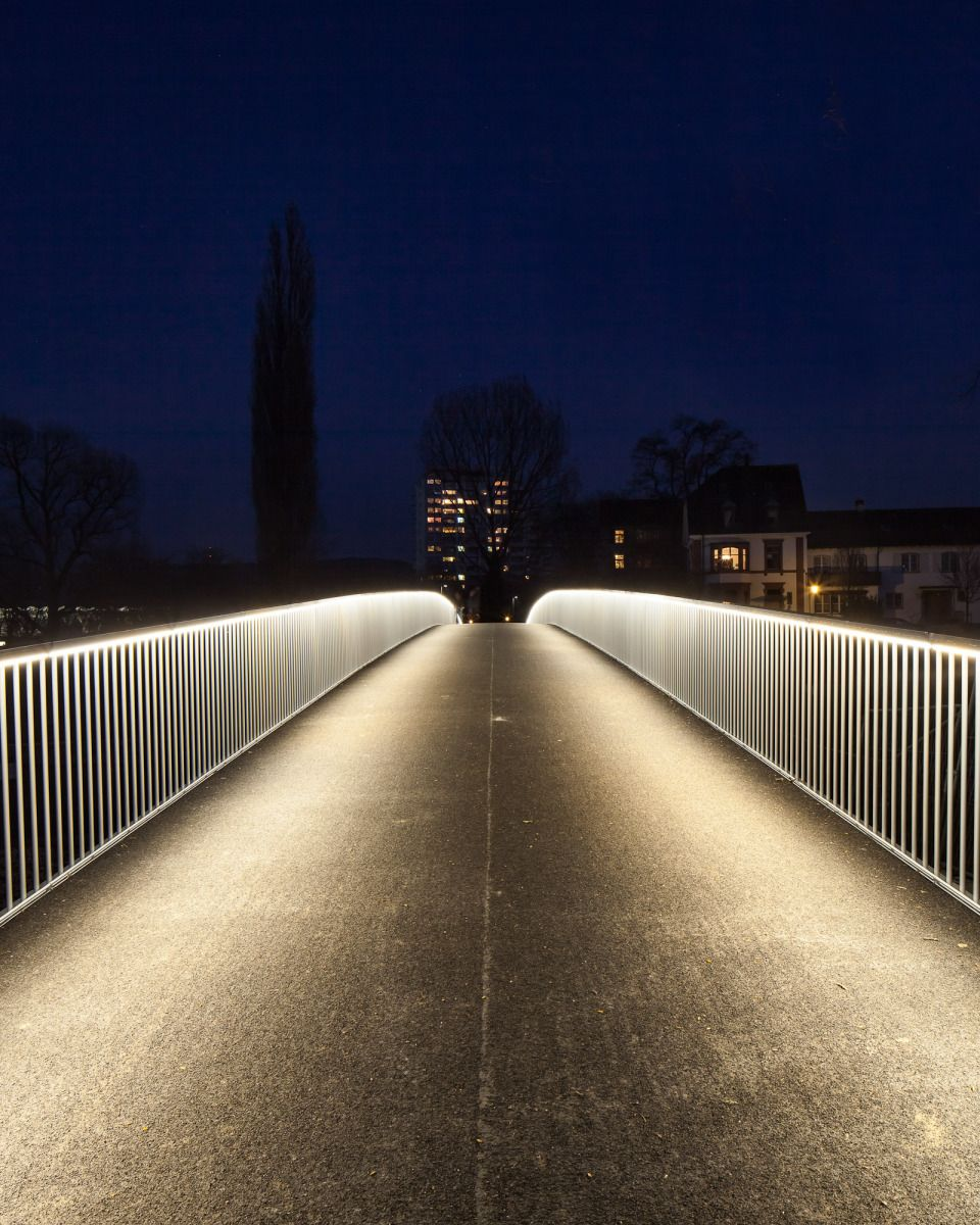 Pedestrian Bridge In Basel Switzerland Designexterior Lightingcity