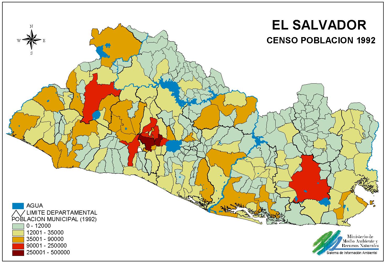 El Salvador Population Map Map El Salvador Salvador