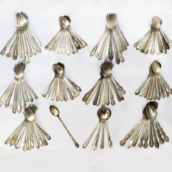 Lot Of Silver Plate Flatware 105 pieces total, Giving You 5 Extra Pieces For Free! Gorgeous Mixed Detailed Patterns, Everything From Antique To Vintage!Consists Of 1 Iced Tea Spoon, 4 Soup Spoons, 9 Tbs, 41 Tsp, And 50 ForksSmallest Piece Measures 5 1/2