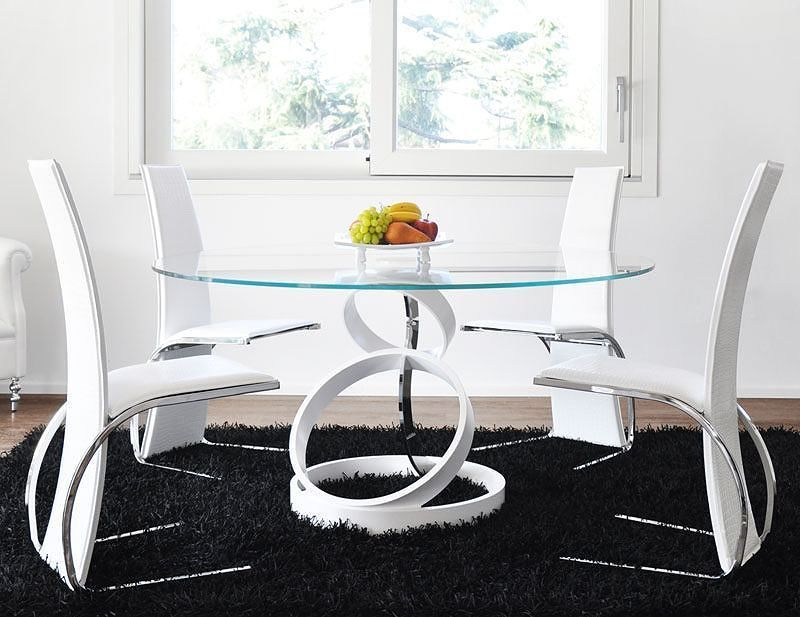 Nice White Dining Table With Glass Top In Modern Glass Dining Table And Chairs (With images ...