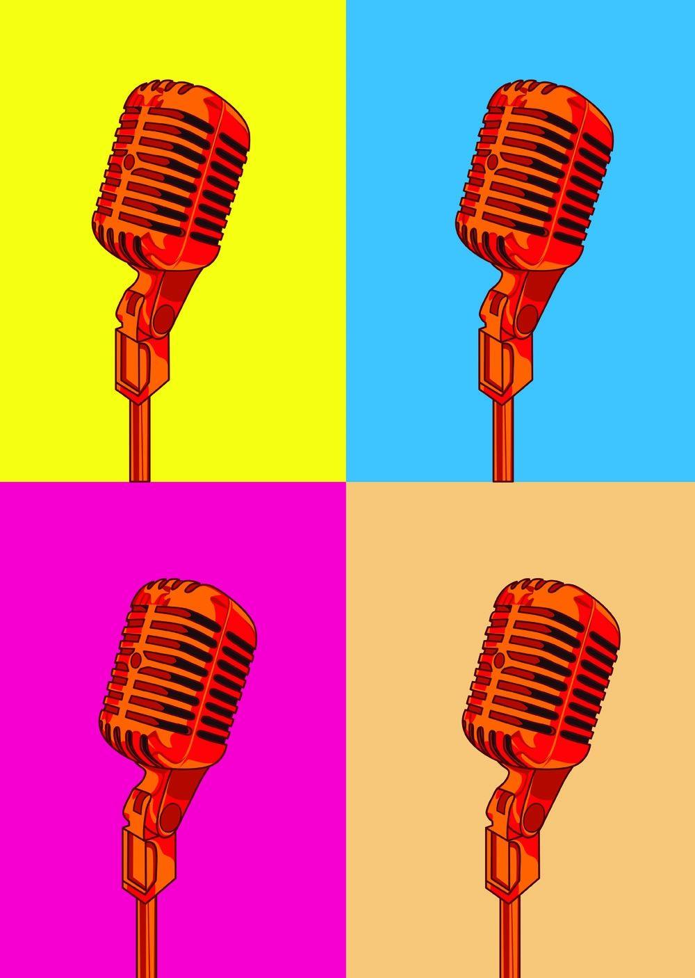 Pop Art Vintage Microphone Red Hardtofind Pop Art Vintage Microphone Vintage Poster Art