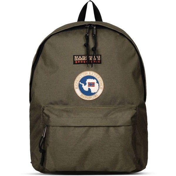 Napapijri Rucksack ($56) ❤ liked on Polyvore featuring bags, backpacks, military green, zip bag, backpack bags, olive backpack, handle bag and brown bag