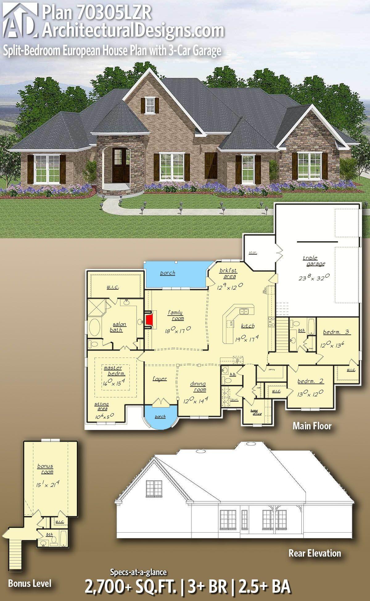 Plan 70305lzr Split Bedroom European House Plan With 3 Car Garage House Plans Country House Plans European House