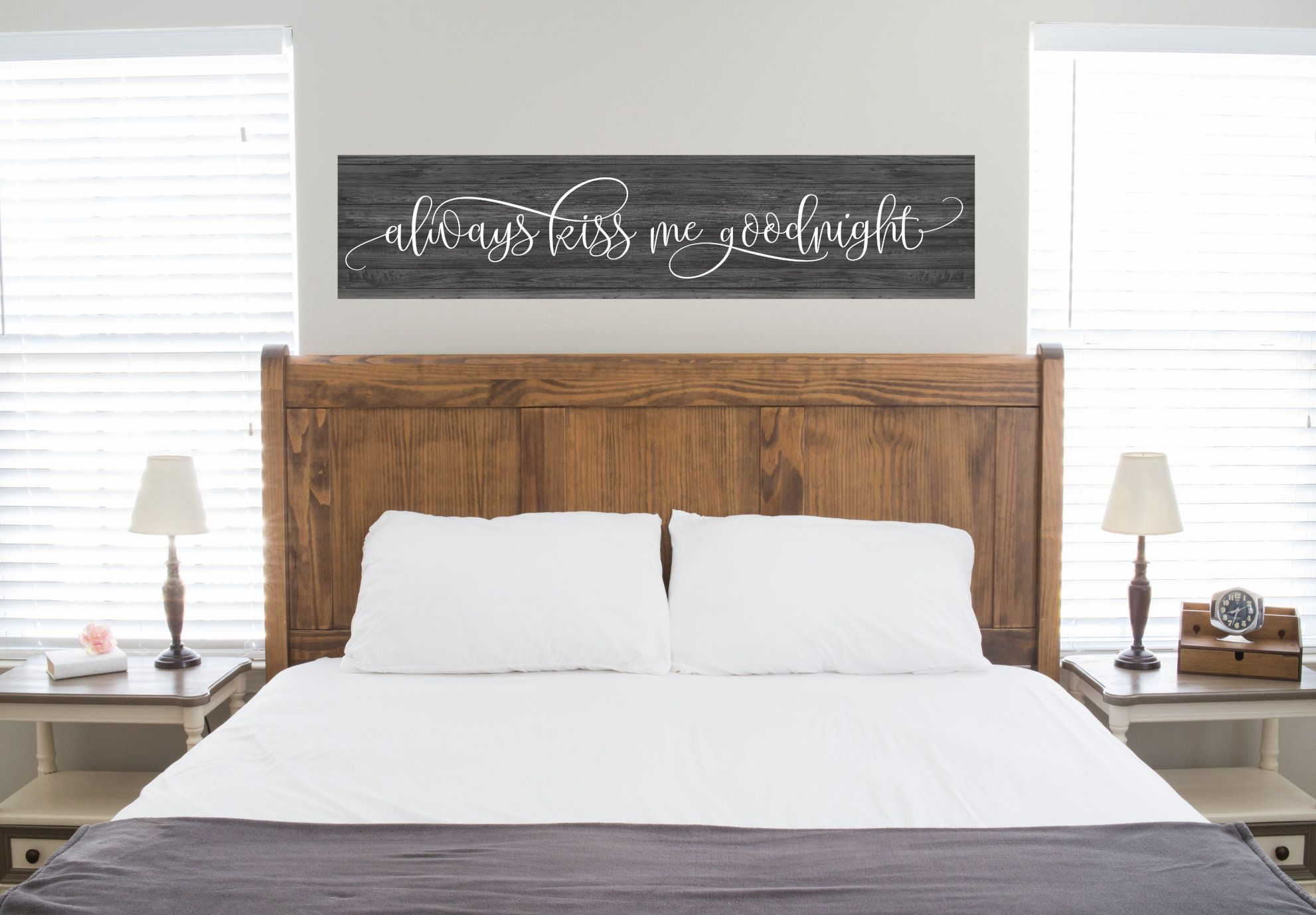 Always Kiss Me Goodnight Wood Sign Bedroom Sign Wedding Sign