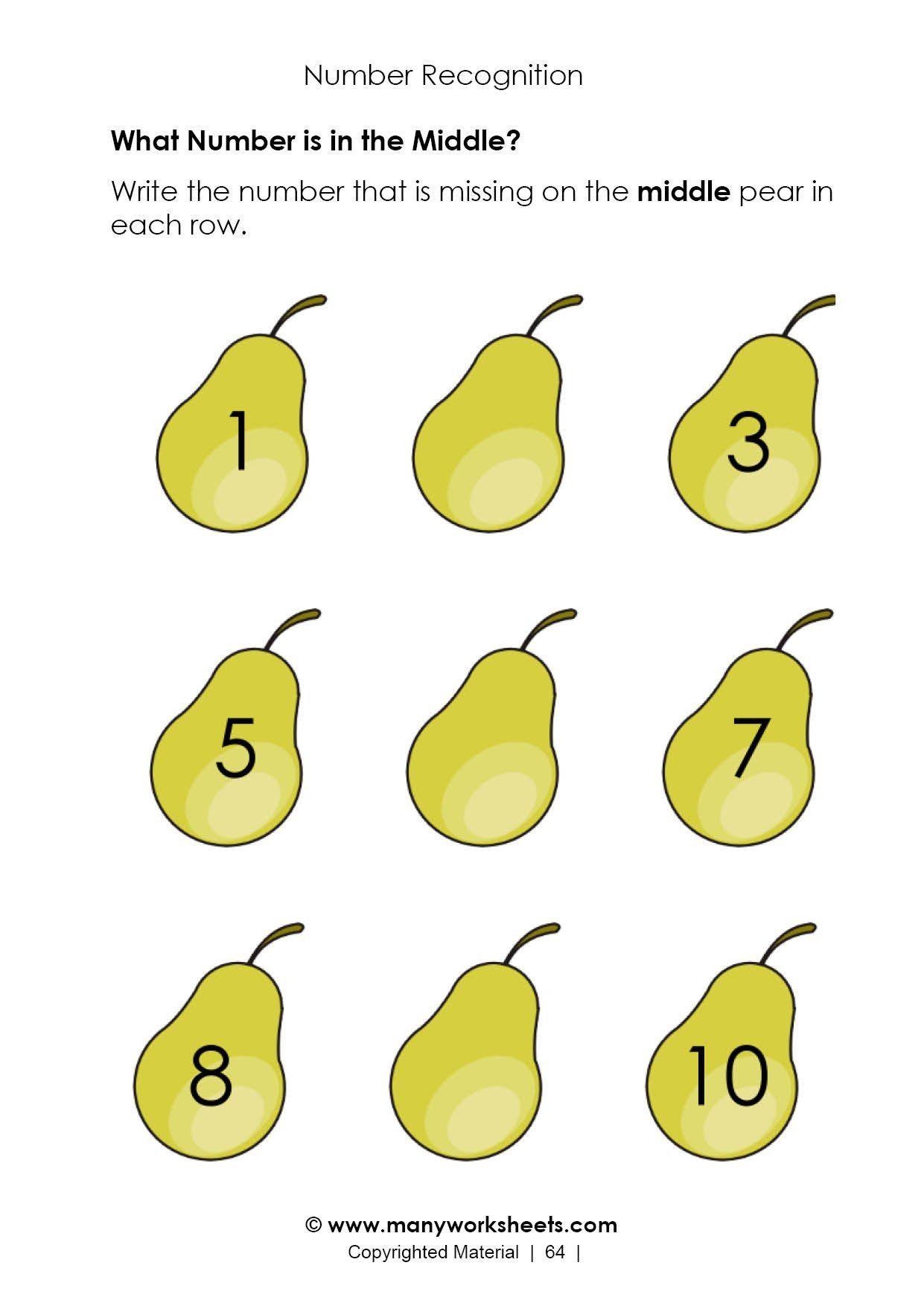 Kindergarten Nutrition Worksheets Ordering Numbers 1 To 10