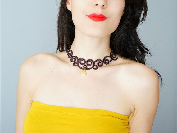 NECKLACE // Boccalupo // Handmade Statement Necklace Brown Lace Necklace Applique Golden Chain Blouse Accessories Venise Lace on Etsy, $38.00