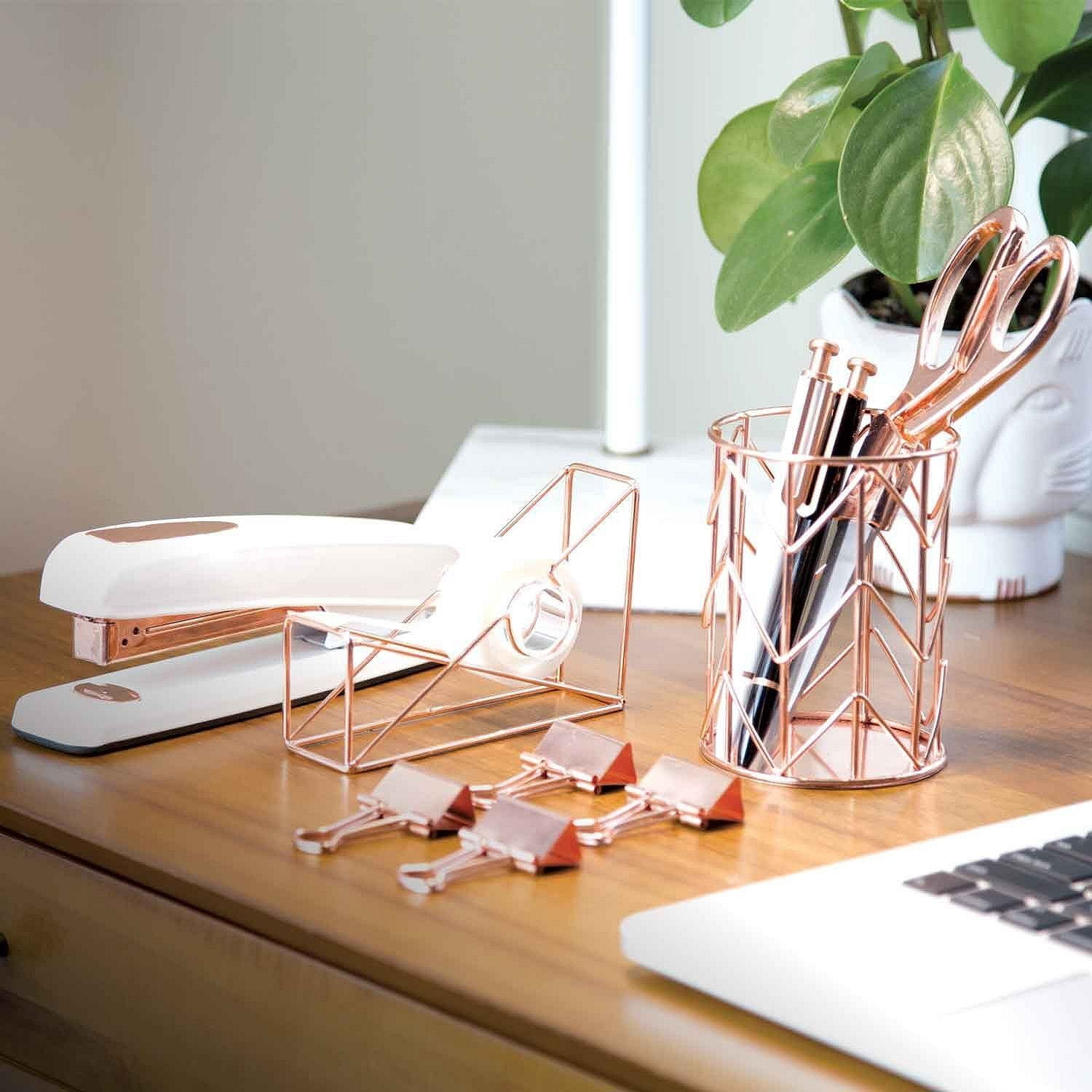 Rose Gold Office Supplies: Scissors, Tape Dispenser