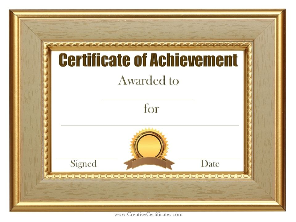 Customized Sample Achievement Certificate Template Certificates