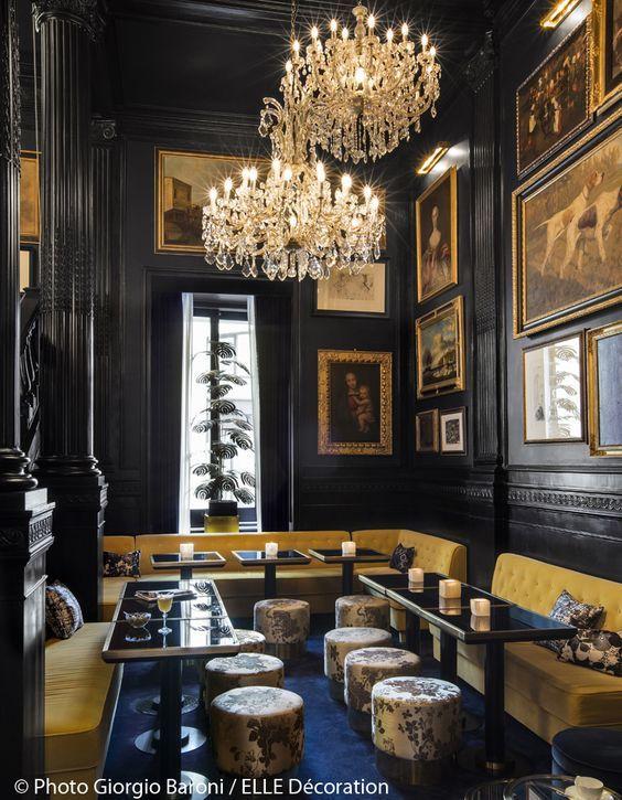 Black walls glamorous vintage grand bar restaurant design ideas