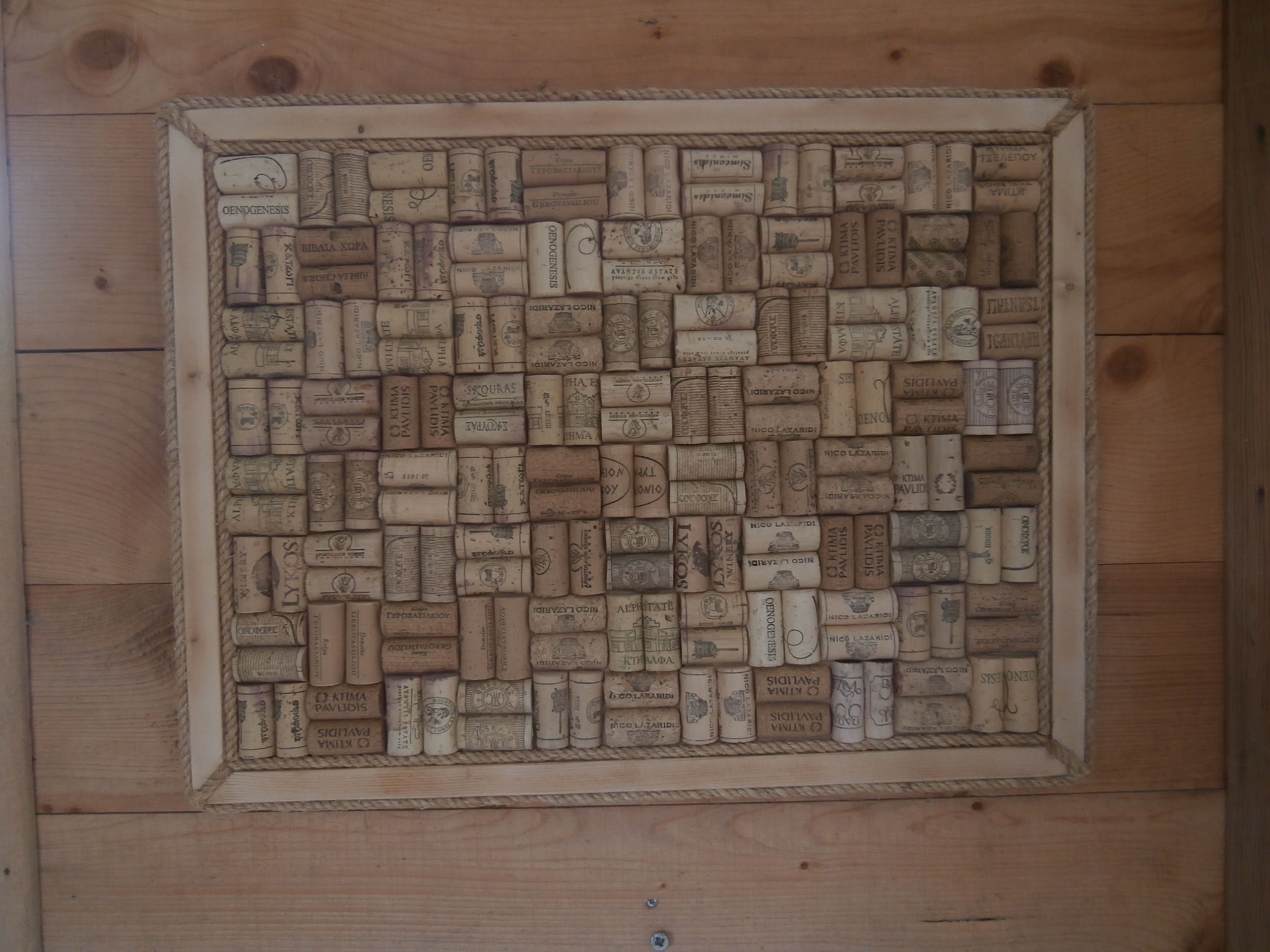 Noticeboard made from upcycled Greek wine corks