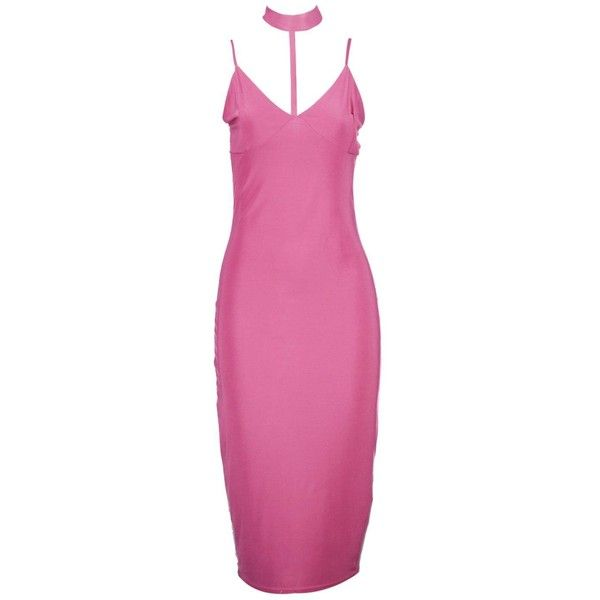 Boohoo Lorelei Choker Plunge Neck Midi Dress ($12) ❤ liked on ...