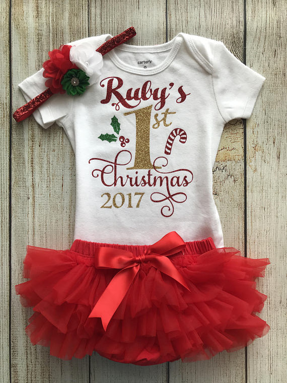 b897eb1d84af Personalized Baby Girl Christmas Outfit - My First Christmas - Baby ...