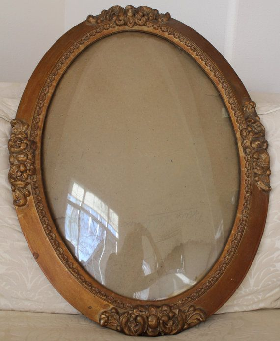 photo vintage coaster Oval curved glass frame