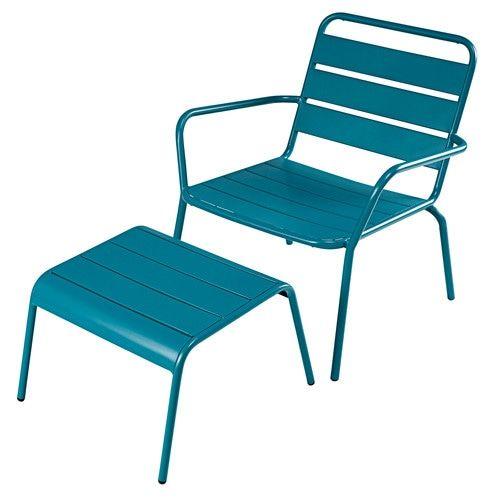 fauteuil de jardin et repose pieds en m tal bleu canard pinterest fauteuils de jardin. Black Bedroom Furniture Sets. Home Design Ideas