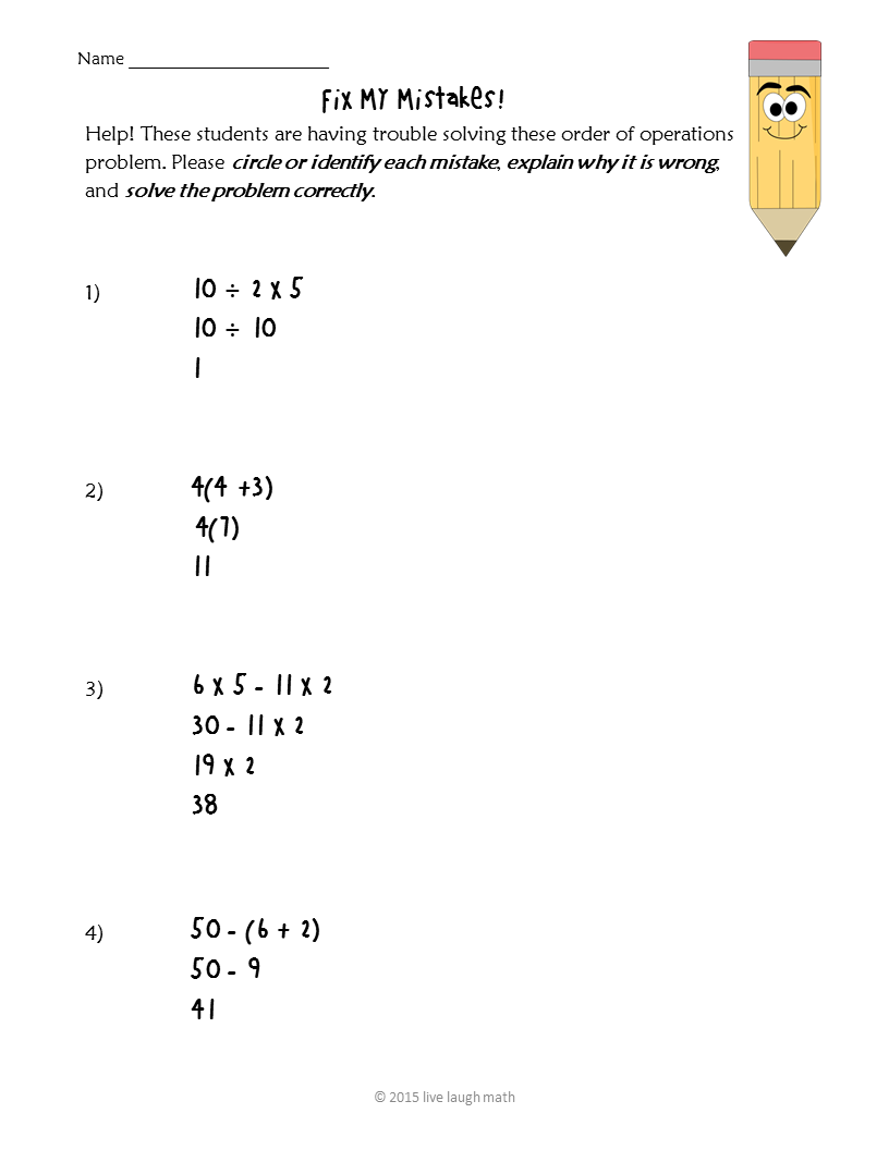 worksheet Order Of Operations 5th Grade order of operations fix my mistakes freebie unit 1 numbers freebie