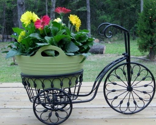 Bicycle Plant Stand Flower Pot Holder Iron Bike Indoor Outdoor