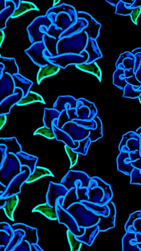 Glowing Blue Roses Neon Wallpaper Blue Roses Wallpaper Flower