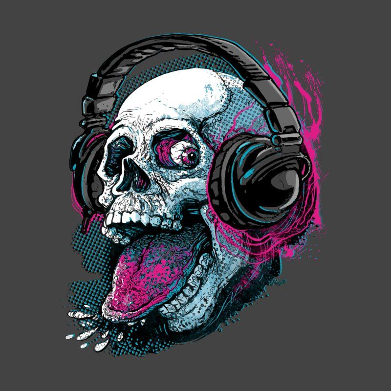 Skull Raspberry With Headphones