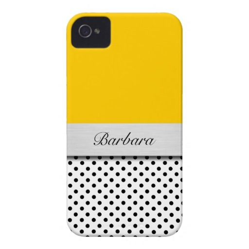 Chic polka dot iPhone 4 case with color background you can customize and monogram you can personalize. Carr your smartphone in style, your style!