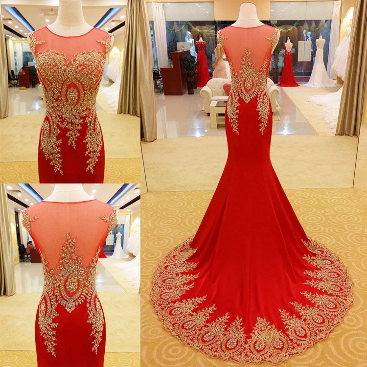 Red prom dresses mermaid illustrations