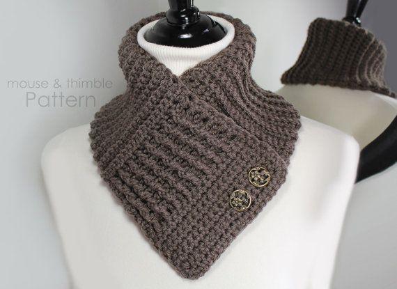 V - Neck Double Button Waffle Scarf Crochet PATTERN - PDF 2405