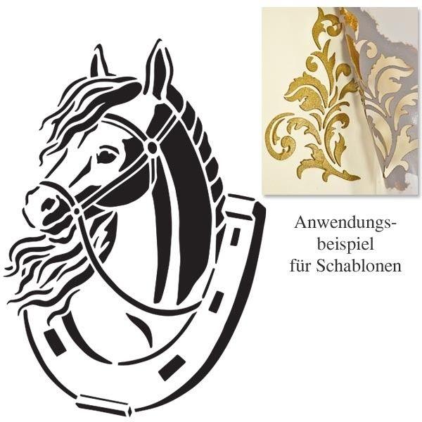 Universal Schablone Pferd Im Hufeisen Dina4 Wiederverwendbar Schablonen Pferd Ausmalbilder