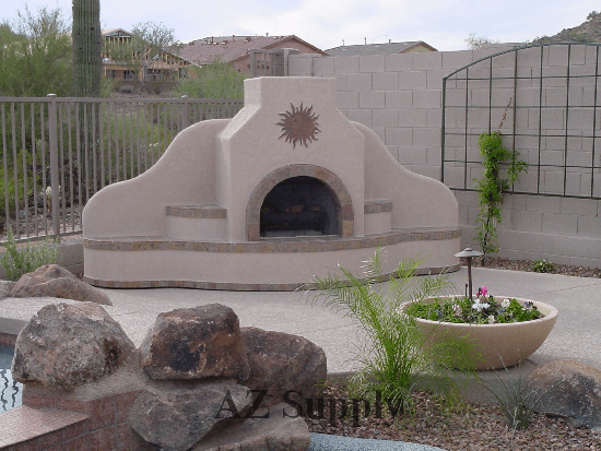 Nice Outdoor Fireplace Santa Fe Style To Hide Pool Equipment