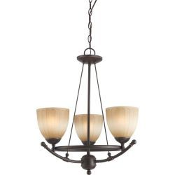 Glomar 3 Light Chandelier with Auburn Beige Glass Finished in Sudbury Bronze