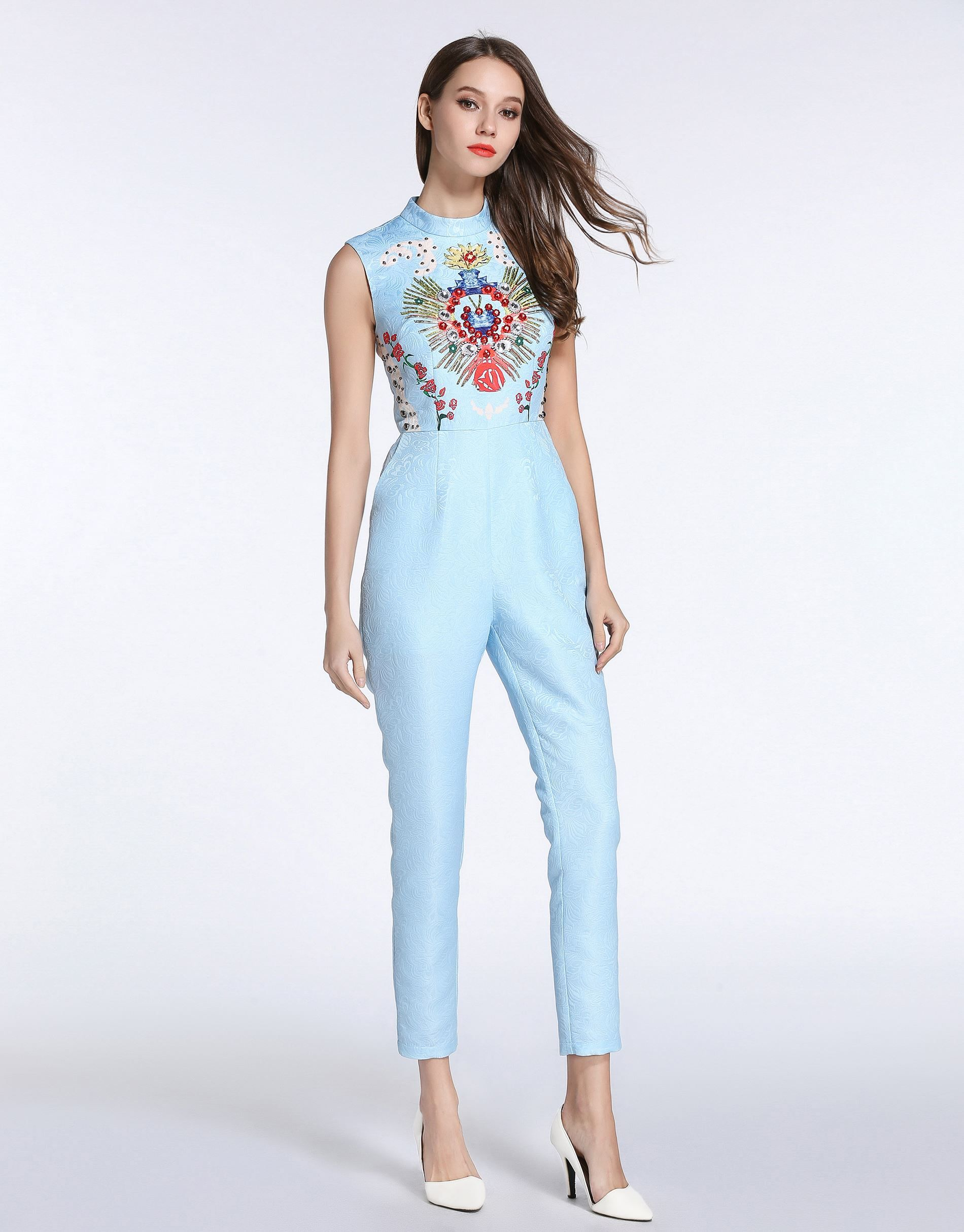 2e0d0f3dd1 Picture of Comino Couture Sky Blue Embellished Jumpsuit ...