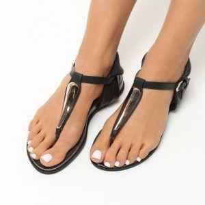 87894a0b77 Letné sandále nízke čiernej farby (2)