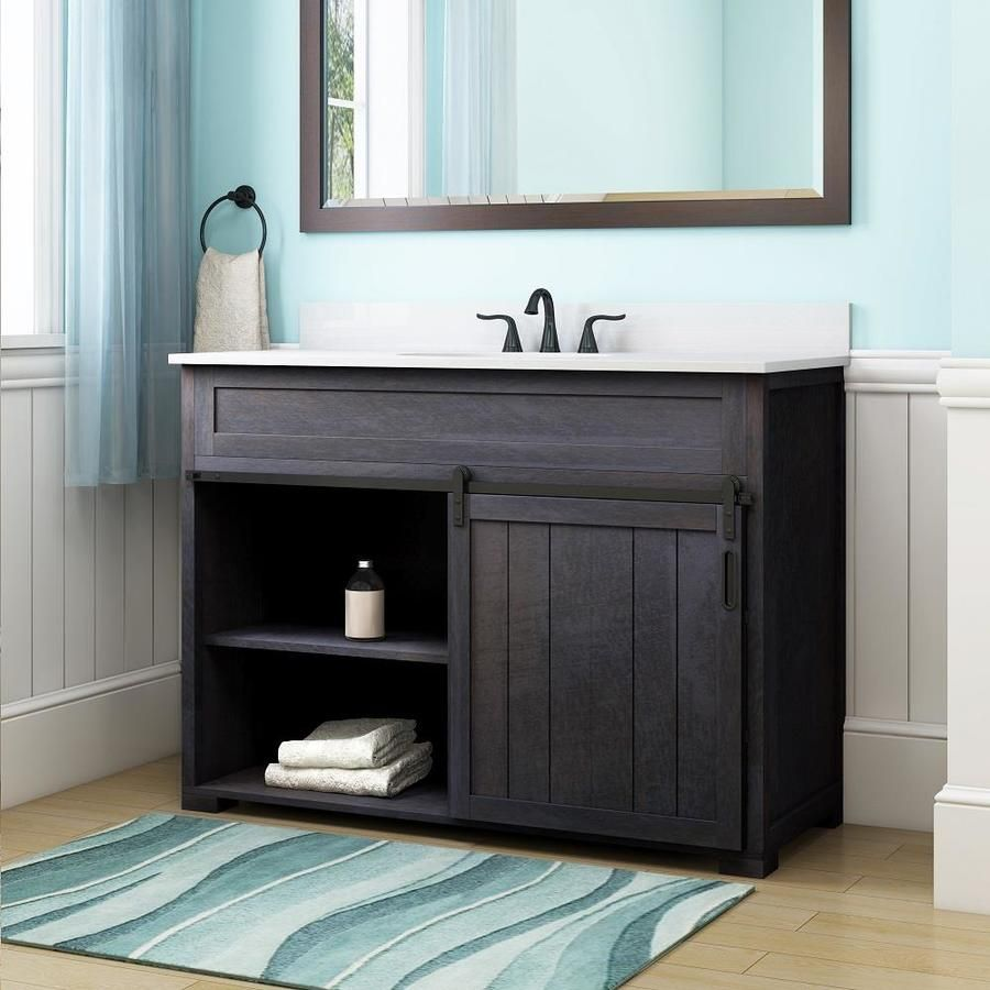 Style Selections Morriston 48 In Distressed Java Single Sink Bathroom Vanity With White Engineered Stone Top Lowes Com Bathroom Sink Vanity Single Sink Bathroom Vanity Bathroom Vanity