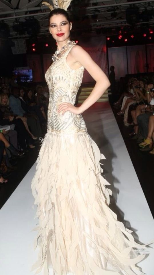 SUE WONG GATSBY 1920\'s Deco Beaded Feather Wedding Bridal Prom Ball ...